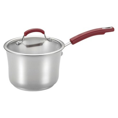 Rachael Ray Stainless Steel II 3-1/2-Quart Covered Saucepan, Red