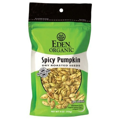 Eden Organic Dry Roasted Seeds, Spicy Pumpkin, 4-Ounce Resealable Bags (Pack of 15)