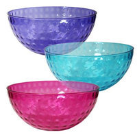 Party Dimensions 68355 96oz Plastic Dimple Bowls Assorted Colors - 24 Per Case