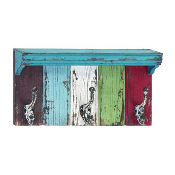 Uma 16 Painted Wood Shelf with Hooks