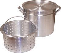 King Kooker 32 Qt. Boiling Pot with Steamer Rim, Lid, and Punched Aluminum Basket