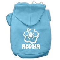 Mirage Pet Products Aloha Flower Screen Print Pet Hoodies Baby Blue Size Lg (14)