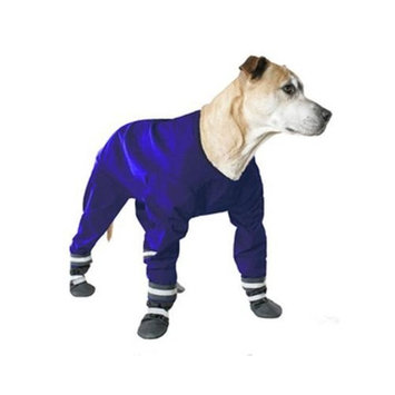 Muttluks 4-Legged Dog Jog Rain Suit, Size 20, Blue
