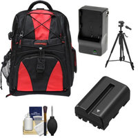 Precision Design Multi-Use Laptop/Tablet Digital SLR Camera Backpack Case (Black/Red) with NP-FM500H Battery & Charger + Tripod + Accessory Kit for Sony Alpha SLT-A57, A65, A77, A99