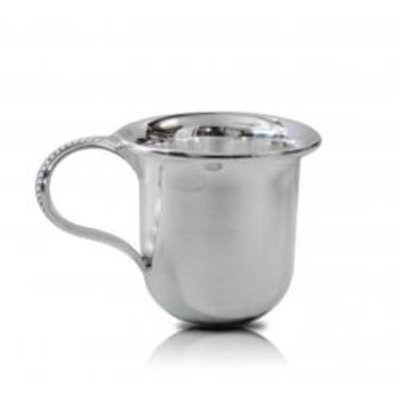 Silverstar Fine Sterling Silver Products Silver Clarion Baby Cup Gift with Beaded Handled - Made in Italy