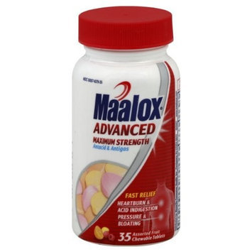 Novartis Consumer Health MAALOX Advanced Maximum Strength Antacid Antigas 35 ct. Chewable Tablets, Assorted Fruit Flavor