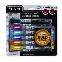 Quartet EnduraGlide Fine Tip Dry-Erase Marker, 12 Pack, 9 Assorted Colors