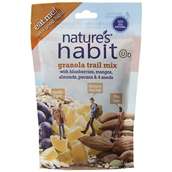 Nature's Habit Granola Trail Mix with Blueberries, Mangos, Almonds, Pecans and Seeds, 4-Ounce Pouches (Pack of 12)