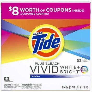 Tide Ultra  Plus Bleach Vivid White + Bright Original Powder Laundry Detergent