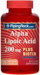 Piping Rock Alpha Lipoic Acid 200mg plus Biotin 120 Capsules