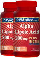 Piping Rock Alpha Lipoic Acid 200mg plus Biotin 2 Bottles x 120 Capsules