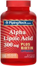 Piping Rock Alpha Lipoic Acid 300mg plus Biotin 180 Capsules