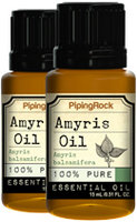 Piping Rock Amyris Essential Oil 2 Bottles x 1/2 oz (15 ml) 100% Pure Oil Therapeutic Grade
