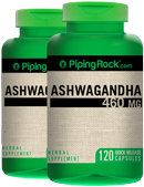Piping Rock Ashwagandha Root 460mg 2 Bottles x 120 Capsules (Withania somnifera)