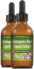 Piping Rock Astragalus Root Liquid Extract Alcohol Free 2 Dropper Bottles x 2 fl oz (59 mL)