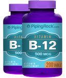 Piping Rock Vitamin B-12 500mcg 2 Bottles x 200 Tables