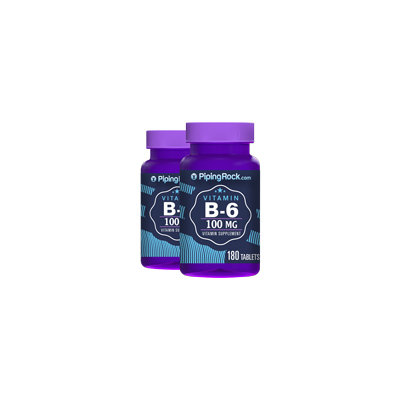 Piping Rock B-6 100mg (Pyridoxine) 2 Bottles x 180 Tablets