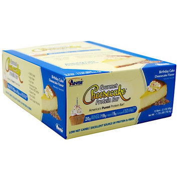 Advanced Nutrient Science Gourmet Protein Bar, Birthday Cake Cheesecake, 12 Bars