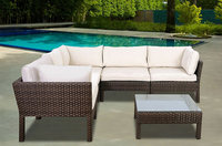 Atlantic St. Croix 6 pc Brown Synthetic Wicker Patio Seating Set with Off-White Cushions
