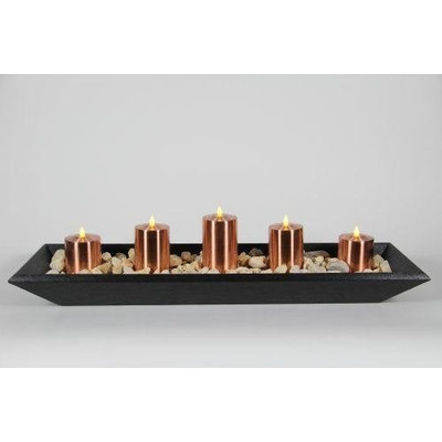 Delighted Home DH-5PPTBLC Black 5 Pillar Polly Trough with 1 6 in. - 2 5 in. and 24 in. Copper Pillars and River Rocks