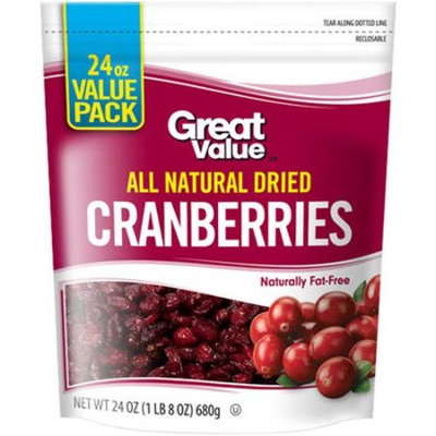 Great Value All Natural Dried Cranberries, 24 oz