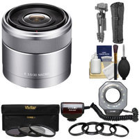 Sony Alpha E-Mount E 30mm f/3.5 Macro Lens with Ringlight + 3 Filters + Tripod Kit for A7, A7R, A7S, A3000, A5000, A5100, A6000 Cameras