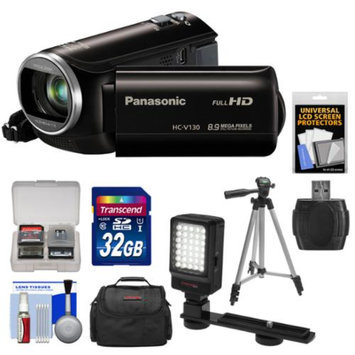 Panasonic HC-V130K Video Camera Camcorder with 32GB Card + Case + LED Video Light + Tripod + Kit