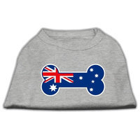 Mirage Pet Products 5109 XLGY Bone Shaped Australian Flag Screen Print Shirts Grey XL 16