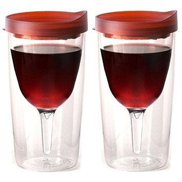 Vino2Go Double Wall Insulated Acrylic Wine Tumbler with Merlot Slide Top Drink Lid 10 oz. Set of 2 [Plastic]