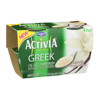 Dannon Activia Greek Nonfat Yogurt Vanilla - 4 CT