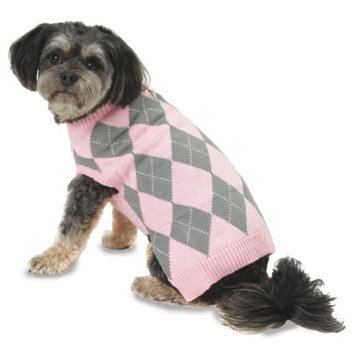 Petrageous Designs Alex's Pink Argyle Dog Sweater - X-Small