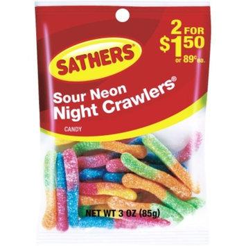 Sathers 3 Oz Sour Neon Night Crawlers (10127)