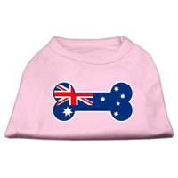 Mirage Pet Products 5109 SMLPK Bone Shaped Australian Flag Screen Print Shirts Light Pink S 10