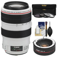 Canon EF 70-300mm f/4-5.6 L IS USM Zoom Lens with 2x Teleconverter (=70-600mm) + 3 UV/ND8/CPL Filters + Cleaning Kit for EOS 6D, 70D, 5D Mark II III, Rebel T3, T3i, T4i, T5, T5i, SL1 DSLR Cameras