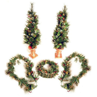 private label Set of 5 Pre-Lit Gold Hardneedle Plug-In LED Decorative Holiday Greens