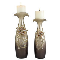 Ore International 14-Inch to 16-Inch Sapphire Rose Candleholder Set