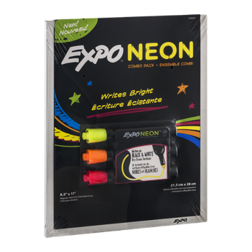Expo Neon Combo Pack Magnetic Black Dry Erase Board And 3 Dry Erase Markers - 4 CT