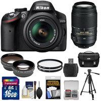 Nikon D3200 Digital SLR Camera & 18-55mm G VR DX AF-S Zoom Lens (Black) + 55-300mm VR Lens + 16GB Card + Case + Filters + Tripod + Telephoto & Wide-Angle Lens Kit