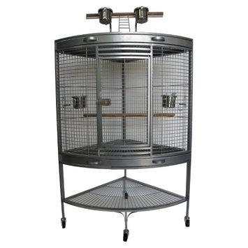 Yml Group YML 3/4 in. Bar Spacing Corner Wrought Iron Bird Cage