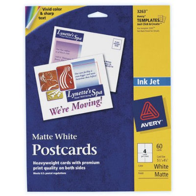 Avery Ink Jet Matte Coated Postcards