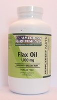 Organic Flax Oil 1000 MG No Chinese Ingredients American Supplements 300 Softgel