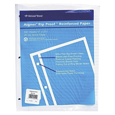 National Brand 11 x 8-1/2 Rip Proof 20-lb.College Ruled Reinforced