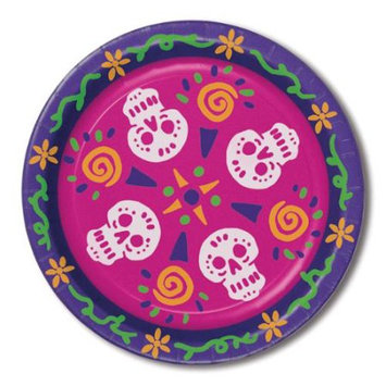 Party Central Club Pack of 96 Festive Multicolor Day Of The Dead Skulls Disposable Dinner Plates 9