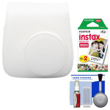 Fujifilm Groovy Camera Case for Instax Mini 8 (White) with 20 Twin Prints + Cleaning Kit