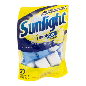 Sunlight Dishwasher Detergent Power Pacs Citrus Rush -20 CT