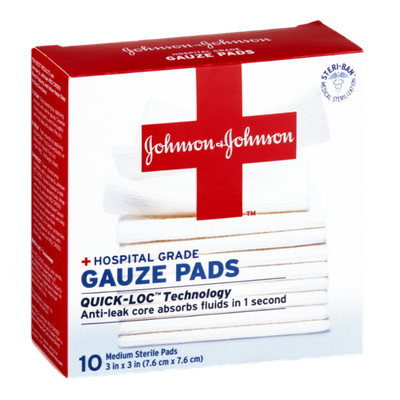 Johnson & Johnson Hospital Grade Gauze Pads - 10 CT