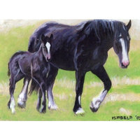Olde Time Mercantile Clydesdale Mare and Foal Horse Matted Art Print - 5 in x 7 in Design - 8 in x 10 in Matted