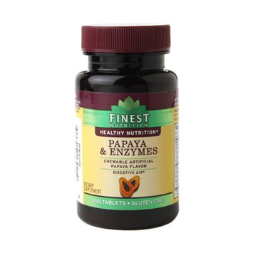 Finest Nutrition Papaya & Enzymes Dietary Supplement Chewable Tablets