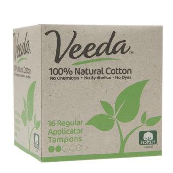 Veeda 100% Natural Cotton Applicator Tampons, Regular, 16 ea