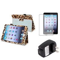 Insten iPad Mini 3/2/1 Case, by INSTEN Brown Leopard Leather Case Stand Cover for iPad Mini 3 2 1+Protector